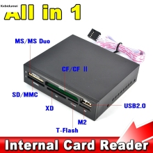 "All In 1 Internal Card Reader USB 2.0 3.5"" Floopy Bay Front Panel SDHC Micro SD MMC CF XD TF Flash Memory Card Reader(China)"