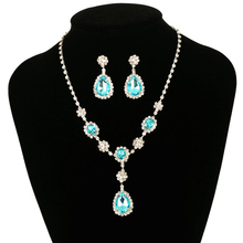 Fashion Drop Pending Earrings Pendant Necklaces Crystal African Bridal Jewelry Sets Wedding Accessories Parure Bijoux(China)