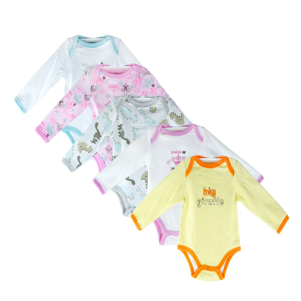 5PCS/Lot Baby bodysuits clothes boys and girls jumpsuit long sleeve bodysuits body suit newborn babychildren's body suit clothes(China)