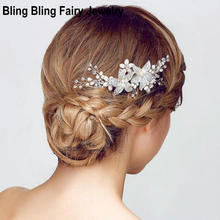 Silver Rhinestone Flower Bridal Hair Comb Handmade Pearl Vine Wedding Hair Accessory Prom Women Headpiece Jewerly, Free Shipping