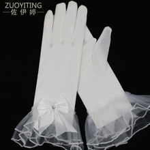 ZUOYITING 2017 New Hot Short White Bridal Gloves with Bow Details Cheap Wedding Gloves Complete Fingers in Sales Wedding Goods(China)