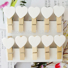 10PCS/lot New Fashion Cute Special Gift white color Heart Wooden Clip Mini Bag Clip Paper Clip wood pegs