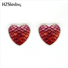 HER-0010 New Fashion Red Dragon Egg Heart Earrings Glass Game of Thrones Heart Jewelry Silver Heart Shaped Stud Earring(China)