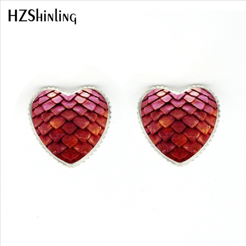 HER-0010 New Fashion Red Dragon Egg Heart Earrings Glass Game of Thrones Heart Jewelry Silver Heart Shaped Stud Earring(China (Mainland))