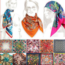 Silk Square Scarf Brand Luxury Bandanas Scarf Headband Muslim Hijab For Women Big Size High Quality Imitated Silk Satin Shawl