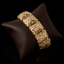 Charm Golden Women Men's Big Bracelets Dubai Gold Color Cuff Bangles  Party Wedding Daily Gift Folli Brand Jewelry 20CM