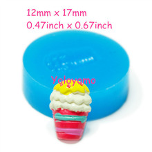 Free shipping X132YL Ice Cream Flexible Silicone Mold 17mm - Air Dry Polymer Clay Sugarcraft Fake Food Molds, Silicone Soap Mold