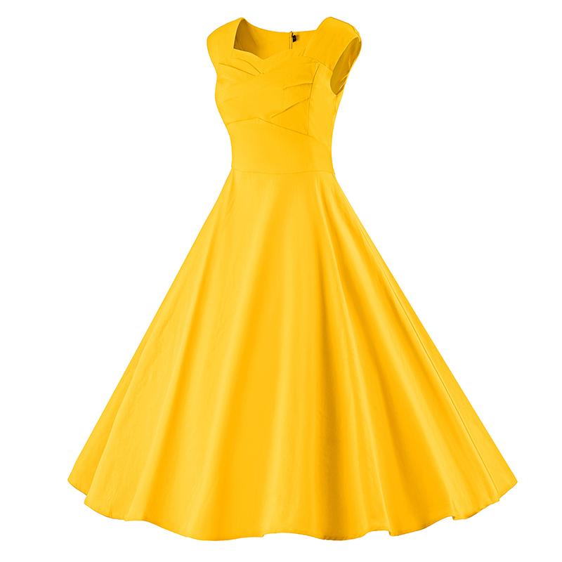 Kostlich 6 Color Retro Summer Dress Women 2017 Sleeveless Hepburn 50s Vintage Dress Elegant Big Swing Rockabilly Party Dresses (10)