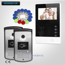 HOMSECUR 2v1 4.3inch Video Door Phone Intercom System With Real-time Outdoor Monitoring for Apartment(China)