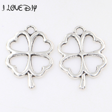 Wholesale Price 30Pcs Tibetan Antique Silver/Golden/Bronze Leaves Pendant Big Lucky Clover Charms Pendant For Jewelry Making