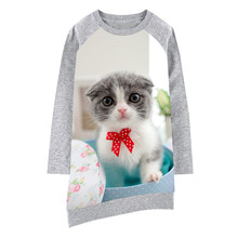 kids dress Lovely cat Long sleeve new Girl clothing Fashion Kids Baby Dresses baby Print Children Dress Designer baby(China)