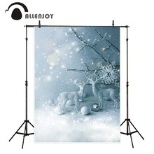 Allenjoy photography background Snow Glitter elk pine tree branches Bokeh backdrop Photo background studio camera fotografica