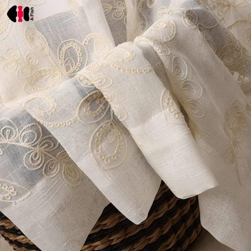 Floral Towel Embroidered Curtains for Living Room Countryside Delicate Cotton Polyester French Window Drapes WP046C