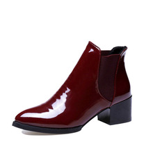 Fashion Patent Leather Women Chelsea Boots Square Heeled Women Designer Boots Pointed Toe Lady Boot Vintage Shoes New Arrivals