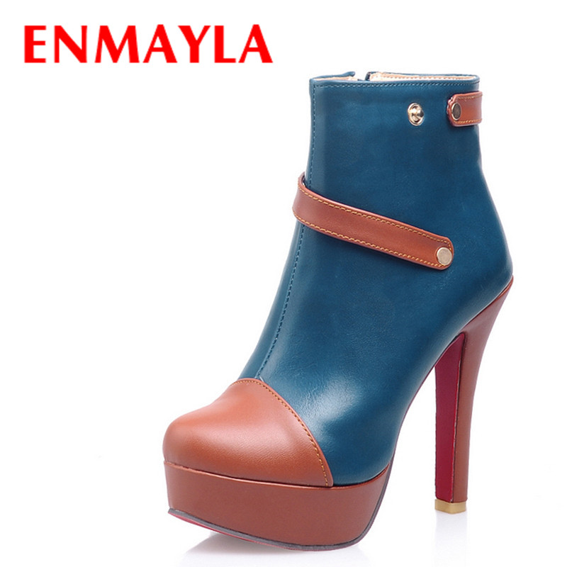 ENMAYLA New Spring Shoes Woman High Heels Mixed Color Buckle Ankle Boots For Women Two Styles Platform Short Boots Shoes<br><br>Aliexpress