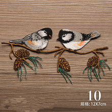 12X7cm Logo patch 2 birds fabric clothes stickers embroidered applique iron on patches for clothes diy accessories