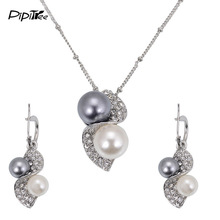 Luxury Brand Imitation Pearl Necklace Earrings Wedding Jewelry Sets Vintage Fashion Crystal Bridal Jewellery Set for Women Gift(China)