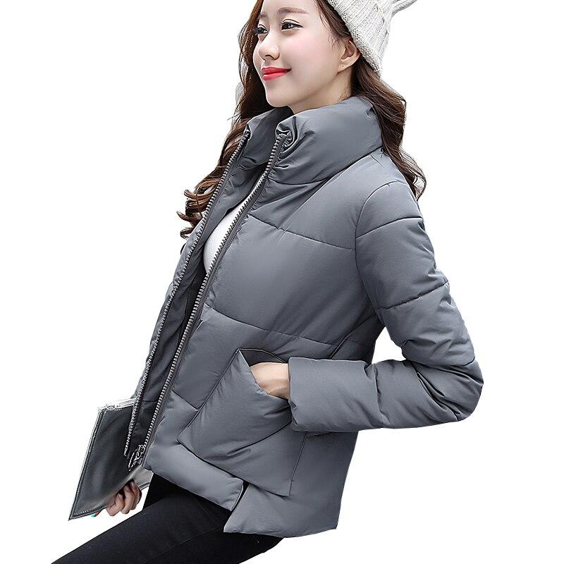 2017 Winter Women Down Jacket Warm Short Cotton Jacket Stand collar pocket zipper Fashion And Thin JacketÎäåæäà è àêñåññóàðû<br><br>