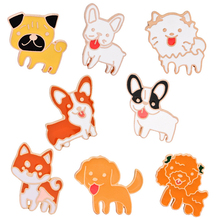1 Pcs Cartoon Cute Dog Emamel Pin 8 style Poodle Teddy Husky Lapel Badge Brooch Pet Lover Children Gift Jewelry Girl Accessories