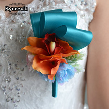 Kyunovia Wedding Prom Corsage Artificial Flower brooch Groom Bridesmaid Groomsmen Flowers Boutonniere and Wrist Flower FE17(China)