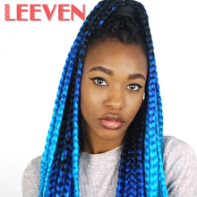Leeven 24'' 100g Synthetic Straight Crochet Braid hair DIY Ombre Braiding Kanekalon Hair Extensions 2PCS/Lot For black women