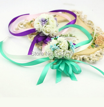 Wedding Bridesmaid Wrist Corsages Decorative Rose Bride Hand Ribbon Flower Bracelet Party Prom Bouquet Favor Decor