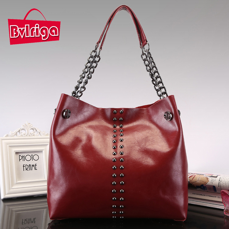 BVLRIGA Genuine leather bag luxury handbags women bags designer chain rivet shoulder bags high quality famous brands tote bag