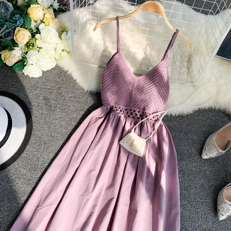 19 new fashion women's dresses Fresh openwork knit stitching V-neck strap high waist dress 5