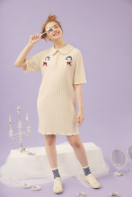 Girl Embroidery Striped Polo 2017 Party Casual Dresses De Festa T Shirt Femme Summer Sexy Club Evening Robe Women Ete Vestidos