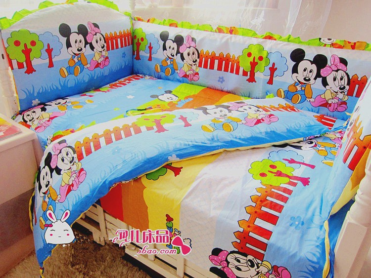 Promotion! 6PCS Mickey Mouse Baby Cot Cribs Bedding sets Baby Sheet Bumpers,include (bumpers+sheet+pillow cover)<br><br>Aliexpress