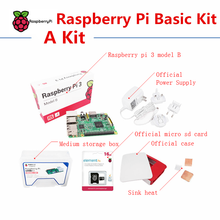 Raspberry pi 3 model B Basic Kit include Raspberry pi 3 board case power supply sink heat touch screen(China)