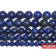 "Free Shipping Natural Stone Lapis Lazuli Never lose Colour Round Beads 15"" Strand 4 6 8 10 12 14MM Pick Size For Jewelry Making"