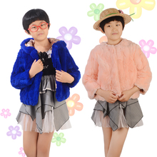 2016 Children Fashion Fur Coat Fur Coat Female Rabbit Hair Hat Fashion High-end Atmosphere For Boys And Girls Winter Warm Baby F(China)