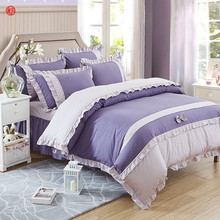 Home textile 4pcs Korean lace bedding set bed sheet skirt queen full size duvet cover purple gray bedding adult Gril bed linen(China)
