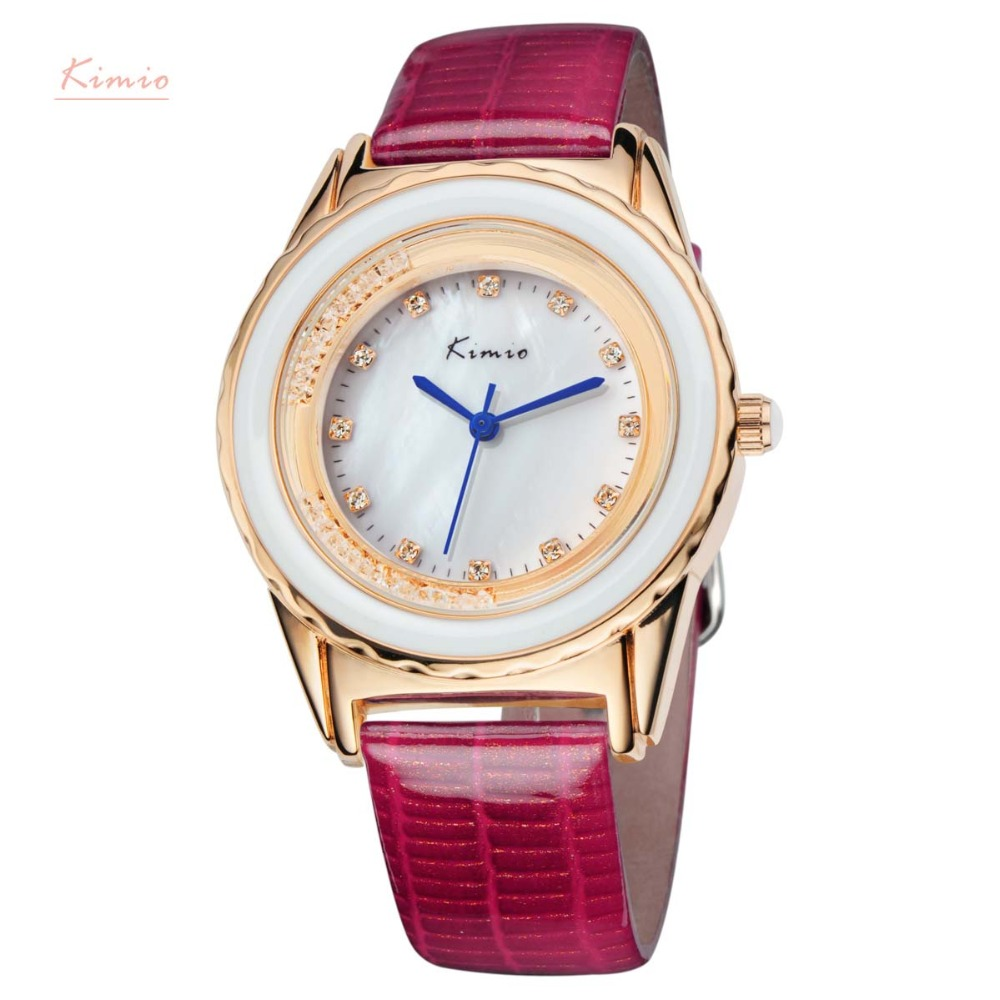 KIMIO Brand Mature Womens Genuine Leather Luxury Quartz Watches Fashion Gold Plated Crystal Dress Wrist Watch Japan movement<br><br>Aliexpress