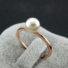 Promotion!!!  Rigant  Rose Real Rose Gold Color Simple Design Single Imitation Pearl Ring/ Cheap Pearl Rings for women