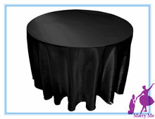 15pcs 90'' Black Satin round wedding tablecloth for wedding party decoration