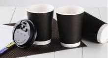 10pcs 400ml black paper cup, heat insulated disposable coffee mug with two layers for coffee shops, logo printing is available