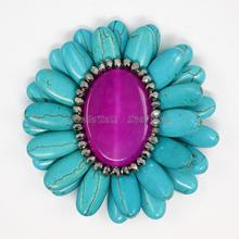 Dye Synthetic Turquoise Flower Cabochons, with Cat Eye, Plated Glass Beads and Platinum Color Metal Findings, MediumOrchid,