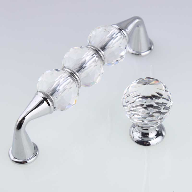 96mm fashion deluxe glass crystal win cabinet dresser door handles silver chrome drawer knobs pulls 3.75 glass diamond handles<br>