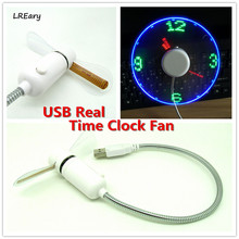 Creative Hot selling USB Mini Flexible Time LED Clock Fan with LED Light Cool USB Gadget Wholesale(China)