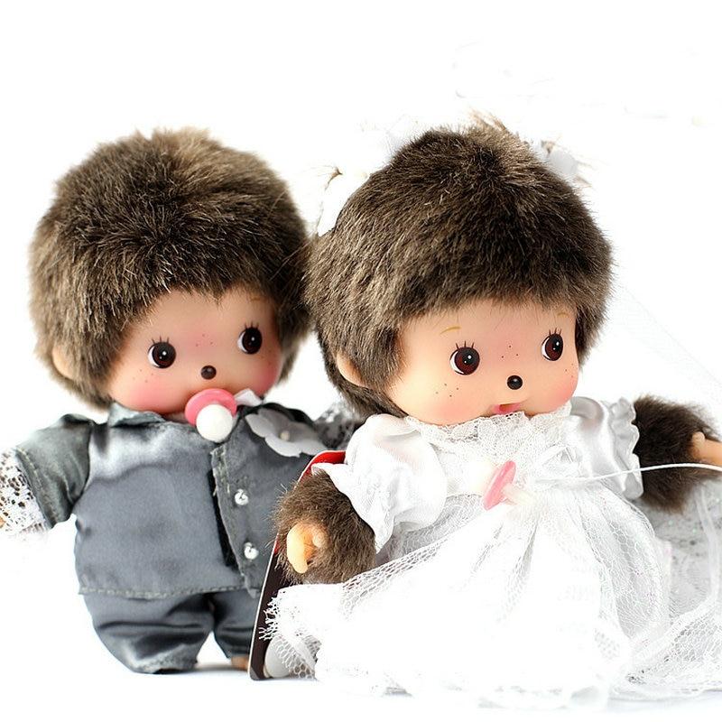 2PCS/Lot 15CM Kawaii Monkiki Plush Doll Couple of Wedding Dress His-and-hers Dolls Monchichi Stuffed Animal Dolls Wedding Gifts<br><br>Aliexpress