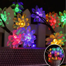 Solar LED Lamp Outdoor Waterproof 19.6FT 30LEDs Lotus Flower Decoration Christmas Garden Holiday Solar Power String Lights
