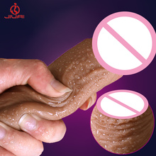Buy Super Soft Huge Realistic Dildo Suction Cup Male Artificial Penis Big Dick Sextoy Adult Sex Toys Silicone Dildos Women