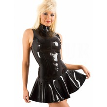 Vocole S-XXL Sexy Latex Leather PVC Wet Look Dress Sleeveless With Zipper Bodycon Catsuit Bondage Clubwear Pole Dance Costume
