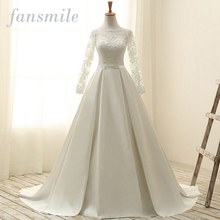 Fansmile Long Sleeve Train Satin Wedding Dresses 2017 Plus Size Bridal Dress Lace Wedding Gown Vestido de Noiva Free Shipping