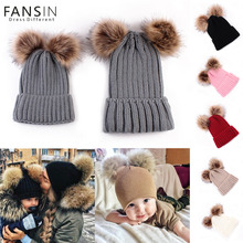 Fansin Brand Mother Kid Baby Double Ball Child Woman Hats Keep Warm Winter Knit Beanie Mom Baby Hats Crochet Cap Family Matching