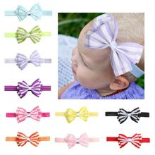 1 PC New Adorable Kids Ribbon Striped Bowknot Elastic Hair bands Big Bow Headband Headwear Hair Accessories For Girls