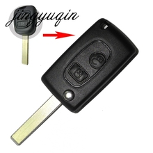 jingyuqin Modified Flip Folding Remote Key Shell fit for PEUGEOT 307 607 207 for Citroen C2 C5 2BTN Key Case Fob  HU83 Blade