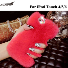 DIY Diamond Pandant Fashion Handmade Cases Plush  TOP Rabbit Fur Cover Protective Back Case Covers Bag For For iPod Touch 5/6